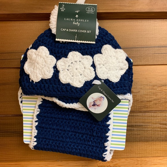 Laura Ashley Other - 2/$20 NWT Laura Ashley Blue Cap & Diaper Cover Set